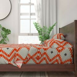 Triangle Plus Native Natural Orange 100 Cotton Sateen Sheet Set By Roostery
