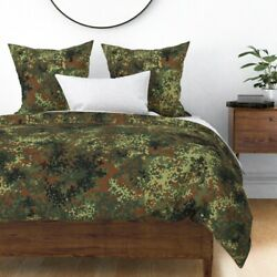German Camo Camouflage Hunting Military Green Sateen Duvet Cover By Roostery