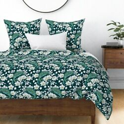 Rainforest Chameleon And Orchid Floral Decor Sateen Duvet Cover by Roostery