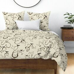 Birds Crow Creepy Vintage Halloween Decor Tree Sateen Duvet Cover By Roostery