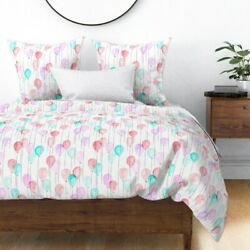 Birthday Balloons Pink And Blue Baby Girl Nursery Sateen Duvet Cover By Roostery