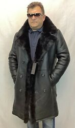 Black 100 Real Sheepskin Shearling Leather Long Trench Coat Jacket Xs-8xl Nwt