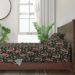 Vintage Christmas Candy Cane Leaves 100 Cotton Sateen Sheet Set By Roostery