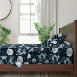 Astrology Midnight Moons Constellations 100 Cotton Sateen Sheet Set By Roostery