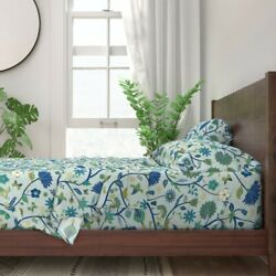 Indian Floral Green Emerald Sapphire 100 Cotton Sateen Sheet Set By Roostery