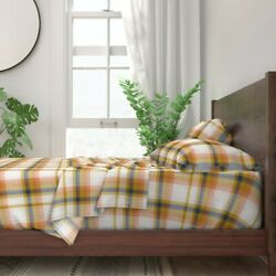 Autumn Navy Mustard Rust Fall Plaid 100 Cotton Sateen Sheet Set By Roostery
