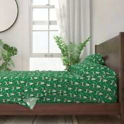 Brittany Spaniel Christmas Santa Paws 100 Cotton Sateen Sheet Set By Roostery