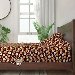 Pumpkins Leaves Fall Autumn Burgundy 100 Cotton Sateen Sheet Set By Roostery