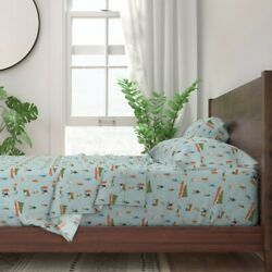 Blue Christmas Present Fir Tree People 100 Cotton Sateen Sheet Set By Roostery