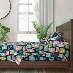 Christmas In London Buildings Town 100 Cotton Sateen Sheet Set By Roostery