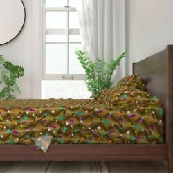 Bowling Mod Brown Star Sparkle Pin 100 Cotton Sateen Sheet Set By Roostery
