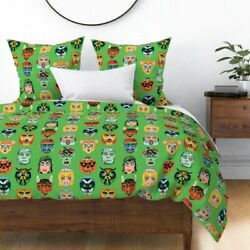 Vintage Halloween Masks Masquerade Costume Sateen Duvet Cover By Roostery