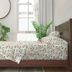 Sweet Spring Floral Florals Watercolor 100 Cotton Sateen Sheet Set By Roostery