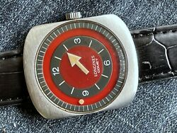 Rare 1960and039s Longines Comet Red Stainless Steel Manual Wind All Original Serviced
