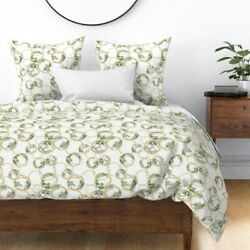 Circles Gold Golden Botanicals Chains Rings Ring Sateen Duvet Cover By Roostery
