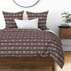 Bear Snowflake Winter Sweater Yarn Knitting Sateen Duvet Cover By Roostery