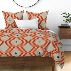 Triangle Plus Native Natural Orange Sateen Duvet Cover By Roostery
