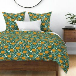 Jade Teal Pumpkins Autumn Fall Sateen Duvet Cover By Roostery