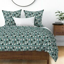 Bowling Ball Pins Asterisk Teal Hand Drawn Sateen Duvet Cover By Roostery