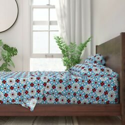Bowling Pins Sports Red White And Blue 100 Cotton Sateen Sheet Set By Roostery