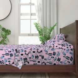 Phones Telephone Vintage Pink Phone 100 Cotton Sateen Sheet Set By Roostery