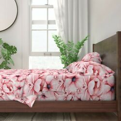 Large Watercolor Florals Flower Floral 100 Cotton Sateen Sheet Set By Roostery