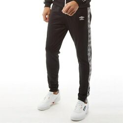 Umbro Mens Active Style Taped Tricot Pants Black/white Polyester Sizes M L Xl