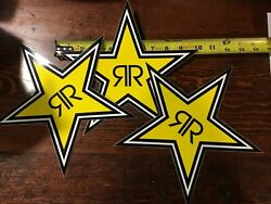 """3 Large 10"""" Authentic Rockstar Energy Drink Sticker Decal Sign Logo Moto Racing"""