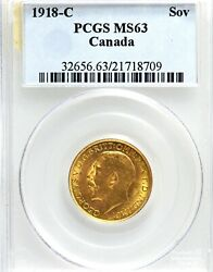 Canada George V 1918-c Gold Sovereign, Pcgs Ms-63.