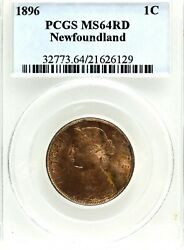 Canada Newfoundland Victoria 1896 Large Cent, Pcgs/iccs Ms-64 Red.