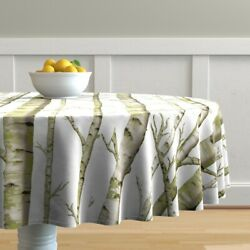 Round Tablecloth Birch Grove Woodland Forest Nursery Trees Green Cotton Sateen