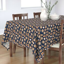 Tablecloth Holiday Christmas Decor Gingerbread Cookies Baking Blue Cotton Sateen