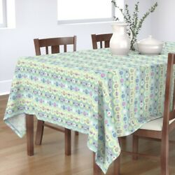 Tablecloth Eggs Easter Painted Eggs Holiday Spring Flowers Cotton Sateen