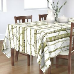Tablecloth Birch Grove Woodland Forest Nursery Trees Green Spring Cotton Sateen