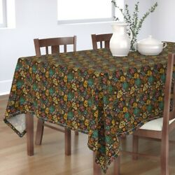 Tablecloth Sugar Skulls Festive Mexico Mexican Day Of The Dead Cotton Sateen