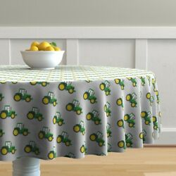 Round Tablecloth Farm Baby Boy Kids Green Tractor Farming Tractors Cotton Sateen