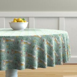Round Tablecloth Tractor Country Farm Farmer Baby Boy Tractors Cotton Sateen