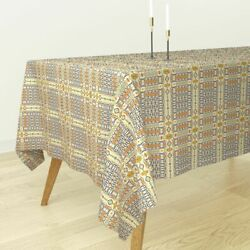 Tablecloth Mexican Geometric Tile Talavera Red Green Mexican Cotton Sateen