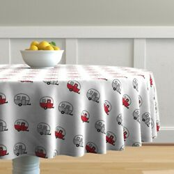 Round Tablecloth Vintage Camper Trailer Canned Ham Red Cotton Sateen