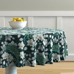 Round Tablecloth Rainforest Chameleon And Orchid Floral Decor Cotton Sateen