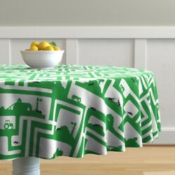 Round Tablecloth Ants Insects Bugs Farms Tractors Barns Maze Cotton Sateen