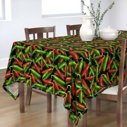 Tablecloth Jalapenos Hot Peppers Chilies Chili Mexican Gardening Cotton Sateen