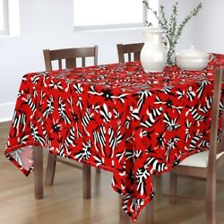 Tablecloth Mexican Otomi Black White Red Inspired Safari Animals Cotton Sateen