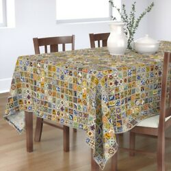 Tablecloth Mexican Talavera Tile C Colorful Kitchen World Heritage Cotton Sateen