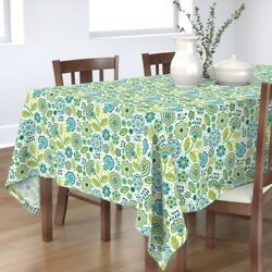 Tablecloth Folk Flowers Mexican Flowers Mexican Dots And Flowers Cotton Sateen