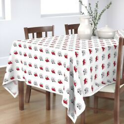 Tablecloth Vintage Camper Trailer Canned Ham Red Cotton Sateen