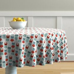 Round Tablecloth Swimming Retro Swim Suits Summer Red Blue White Cotton Sateen