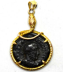 14k Yellow Gold And Ancient Roman Coin Pendant