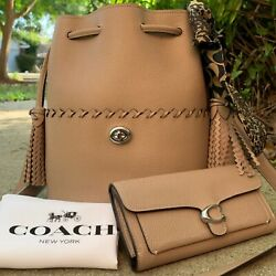 Coach Lora Whipstitch Light Taupe Bag And Wallet Set Bucket Drawstring 651 93983