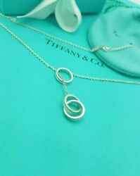 And Co. Rare 1837 Sterling Silver 3 Interlocking Circles Lariat Necklace